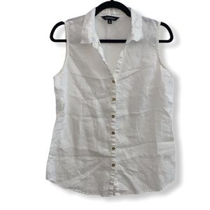 Ellen Tracy linen white sleeveless blouse - M